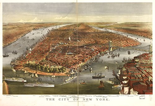 City New York Panoramic Map (1870 31 x 24 Old Vintage Antique Art Canvas Reprinted Map of The city of New York. Professional Reprint a3569)