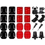 SUNMENCO Action Camera Accessories kits Helmet 3M Adhesive Pads VHB Stickers Flat Curved Base Mount & Surface Base Adapter & Quick Release Buckle Mount & J-hook Buckle Mount for GoPro Hero 6 5 4 / xiao mi yi / AKASO / Sony Sports dvr
