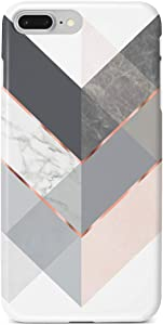 Obbii Case Marble Gray Rose Geometric Design, Shockproof Slim TPU Flexible Soft Silicone Protective Cover Case Compatible with iPhone 7 Plus/8 Plus/6 Plus/6S Plus(5.5'')