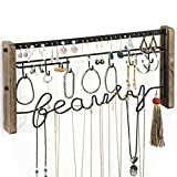 Love-KANKEI Jewelry Organizer Wall Mount - Black Metal & Rustic Wood Necklace Organizer Holder for Earrings Rings Bracelets and Necklaces