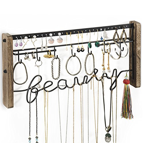 Love-KANKEI Jewelry Organizer Wall Mount - Black Metal & Rustic Wood Necklace Organizer Holder for Earrings Rings Bracelets and Necklaces by Love-KANKEI (Image #7)