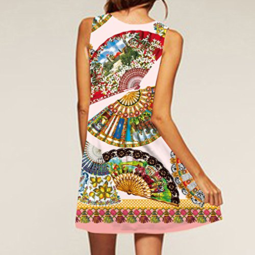 Casual Women's Fan Short Printed Sleeveless Cartoon Summer Honghu Dress 4RHWpqTUH