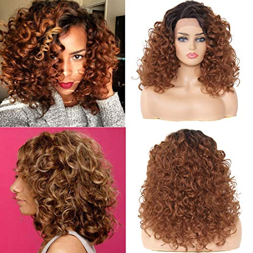YIROO Curly Ombre Auburn Red Synthetic Lace Front Wig Side Part 20 inches Heat Resistant Wigs with Cap Replacement Natural Color For Women(20inch,OT1B30)