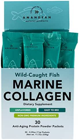 Amandean Marine Collagen Peptides Stick Packs | Wild-Caught Fish | 30 Single Use Individual Convenience Packets | Anti-Aging, Paleo Friendly, Non-Gmo, Gluten Free, Unflavored, High Bioavailability Mix