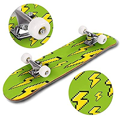 Classic Concave Skateboard 8 bit Pixel Lightning Seamless Pattern Vector Illustration Longboard Maple Deck Extreme Sports and Outdoors Double Kick Trick for Beginners and Professionals : Sports & Outdoors