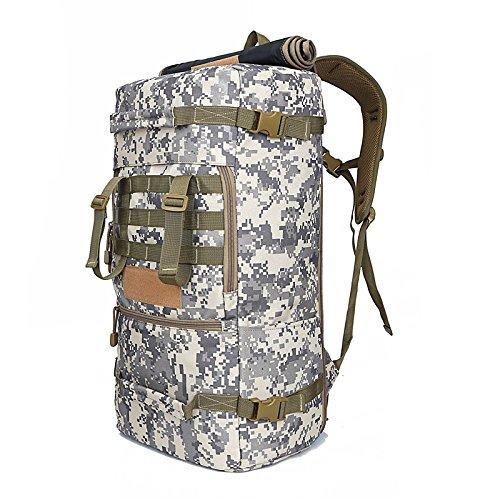 Outdoor Sport Klettern Taschen männlichen 50L Dual Umhängetaschen weiblichen Wandern Camping Multifunktion Gepäck Rucksack Camouflage Paket, Khaki