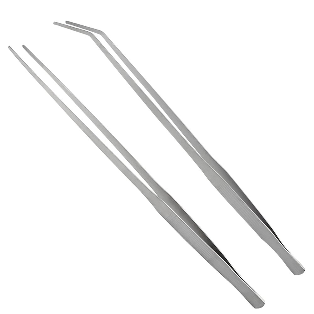 LILYS PET Straight and Bend Stainless Steel Super Thick Tweezers Set,Pliers Aquarium Tool Fish Tank Aquatic Plants Forceps Clip (18.9'') by LILYS PET