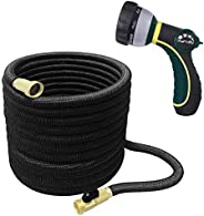 TheFitLife Best Expandable Garden Hose - 25/50/75/100 Feet Strongest Triple Core Latex and Solid Brass Fitting