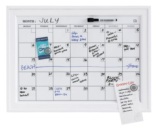amazoncom quartet home decor dry erase calendar bulletin board 17 x 23 inches wood frame white hdp1723wm framed dry erase calender office