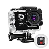 Action Camera 4k Sport Camcorder 16mp WiFi Underwater Waterproof Cam with 170 Wide-Angle Lens 2.0' LCD Remote Control and Mounting Accessories Kits for Diving Camera DriveRecorder