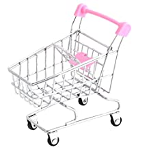 uxcell® Metal Supermarket Shopping Trolly Phone Snacks Storage Mini Cart Container Pink