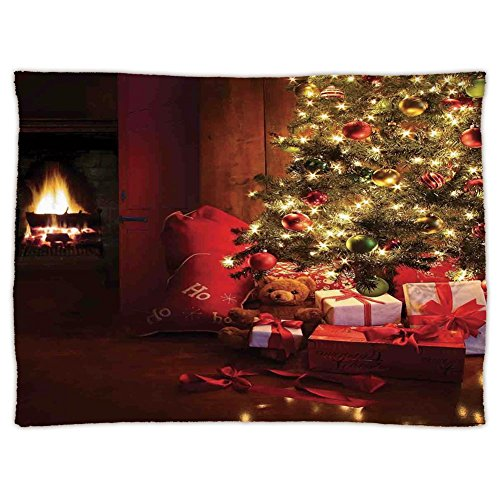 iPrint Super Soft Throw Blanket Custom Design Cozy Fleece Blanket,Christmas,Xmas Scene with Decorated Luminous Tree and Gifts by the Fireplace Artful Image,Red Yellow,Perfect for Couch Sofa or Bed by iPrint