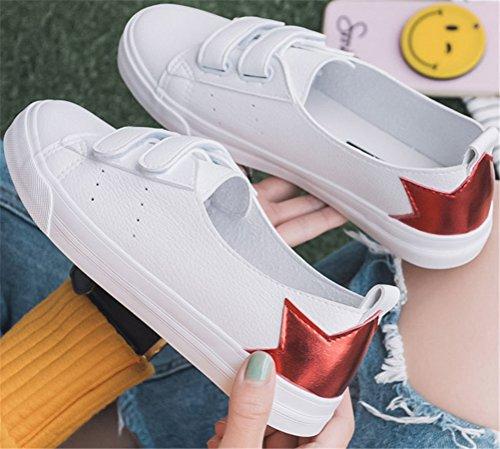 Satuki Sports Sneakers Para Mujer, Pleather Flat Loafer Hook Y Loop Zapatos De Moda Casual Rojo