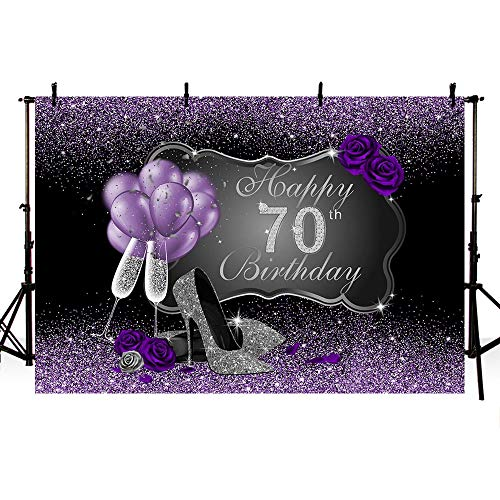 MEHOFOTO Black and Purple Photo Background Silver High Heels Champagne Woman Purple Rose Balloons 70th Happy Birthday Party Banner Backdrops for Photography 8x6ft