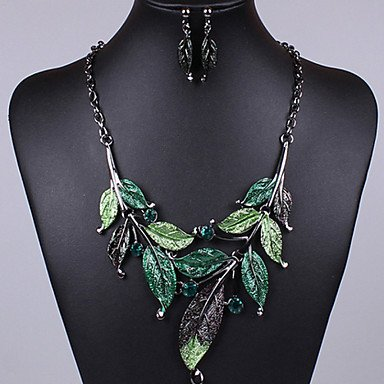 Vintage Leaves Shape Colorful Oildrip Diamanted Alloy (Necklaces&Earrings&) Gemstone Jewelry Sets(More Color)
