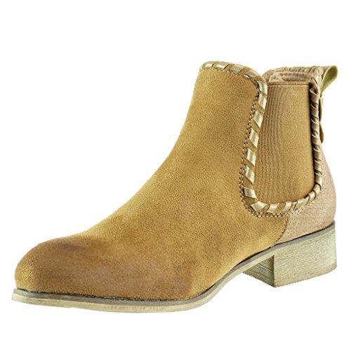 Angkorly - Zapatillas de Moda Botines chelsea boots cavalier bimaterial mujer trenzado tachonado Talón Tacón ancho 3.5 CM - Camel