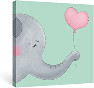 SUMAGR Elephant Wall Art Nursery Teal Gray Canvas Paintings Animal Pictures Pink Artwork Baby Shower Gifts,12x12 inch