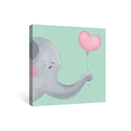 Amazon.com: SUMGAR Framed Wall Art Green and Gray Elephant Mom with ...