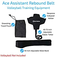 Volleyball Training Equipment Ball Rebounder Aid To Practice Solo Arm Swing Rotations, Tossing Up Overhand Serves and Hitting Spikes | Tether Returns Volley Ball To You | Includes Instructional eBook from Ace Assistant
