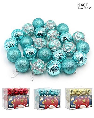 Woowell Shatterproof Ball Ornaments Christmas tree decoration Bauble Pendants, 70mm/2.75