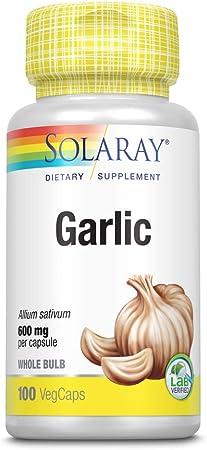Solaray Garlic Bulb 600mg   Healthy Immune, Circulatory & Cardiovascular Systems Support   Vegan & Non-GMO   100 VegCaps