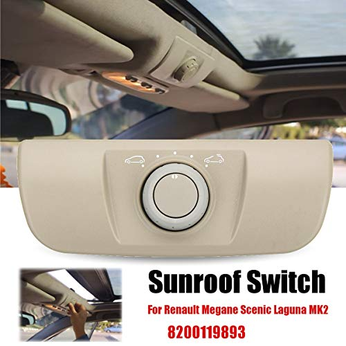 8200119893 Car Sunroof Window Control Switch Knob With Panel Beige for Renault Megane Scenic Laguna MK2 2002-2015 Accessories ()