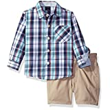 Nautica Baby Boys' Long Sleeve Button Down Shirt and Flat Front Short Set, Curacao, 12 Months