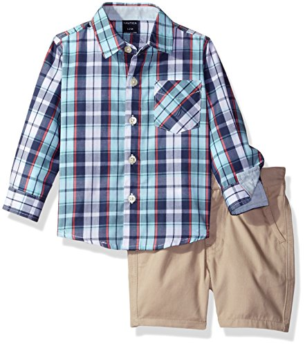 Nautica Baby Boys' Long Sleeve Button Down and Flat Front Short Set, Curacao Plaid, 12 Months