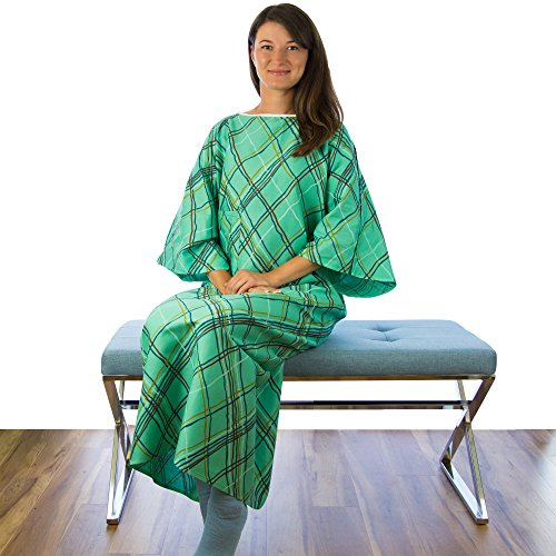 Green IV Hospital Gown / IV Hospital Patient Gown with Telemetry Pocket - Unisex - Fits All Sizes Up To 3XL
