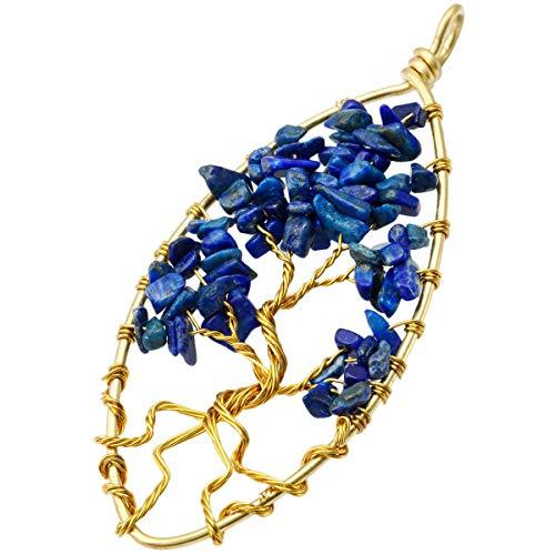 - TUMBEELLUWA Tree of Life Pendant Necklace Stone Healing Crystal Quartz Chakra Handmade Jewelry for Women,Gold Plated,Lapis Lazuli