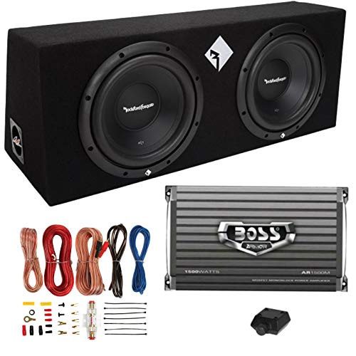 "Rockford Fosgate R1-2X10 10"" 800W Loaded Subwoofer Sub Enclosure+Amp+Amp Kit"