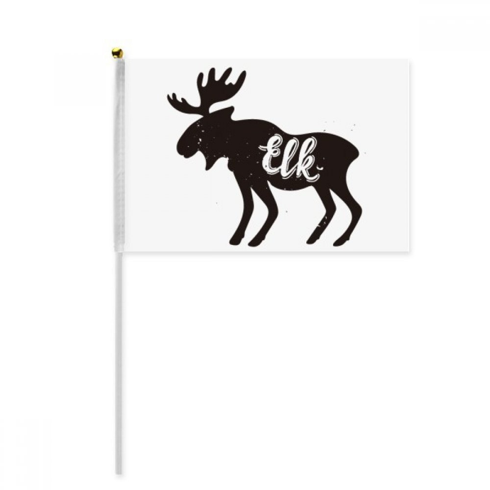 Elk Black And White Animal Hand Waving Flag 8x5 inch Polyester Sport Event Procession Parade 4pcs