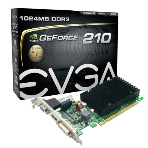 EVGA GeForce 210 Passive 1024 MB DDR3 PCI Express 2.0 DVI/HDMI/VGA Graphics Card, 01G-P3-1313-KR (Dvi Pci Express Graphics)