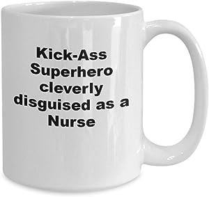 Funny kickass superhero nurse coffee mug or tea cup female male