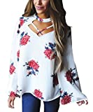 fashion womens clothing - New Floral Women Casual Crisscross V Neck Long Bell Sleeve Loose Floral Print Blouse Elegant Choker Tops for Women White Medium