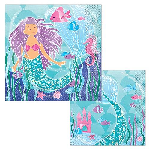 Mermaid Beverage Napkins, 16ct Bundled with Mermaid Party Napkins, ()