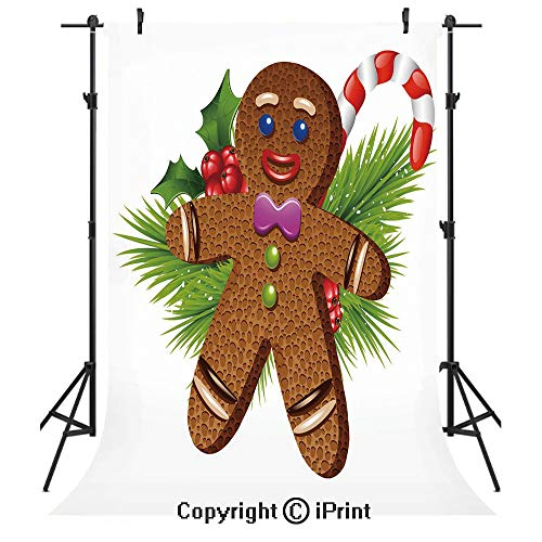 Gingerbread Man Photography Backdrops,Cute Tasty Pastry on Coniferous Branches Candy Cane and Holly Berry Decorative,Birthday Party Seamless Photo Studio Booth Background Banner 6x9ft,Brown Green Red