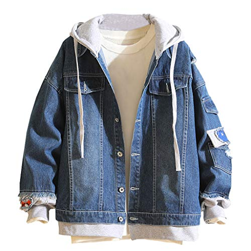 Zoilmxmen Men's Loose Denim Jacket, Men's Autumn Winter Casual Vintage Wash Distressed Denim Jacket Coat Top Blouse