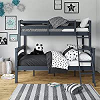Dorel Living Brady Twin over Full Solid Wood Kid's Bunk Bed with Ladder