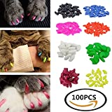 GAVPON 100Pcs Colorful Soft Cat Nail Caps Claws Control Paws Of 5 Different Colors Caps+ 5 Adhesive Glue+ 5Pcs Applicator Soft Rubber Pet Nail Cover (S)