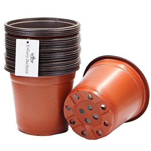 "Erlvery DaMain 6"" Plastic Flower Plants Seedlings Nursery Pot/pots Containers,25 Pack"