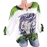 OSTELY Women's Casual Plus Size V-Neck Printing Long Sleeves Tops Blouse(Green, XXXXX-Large