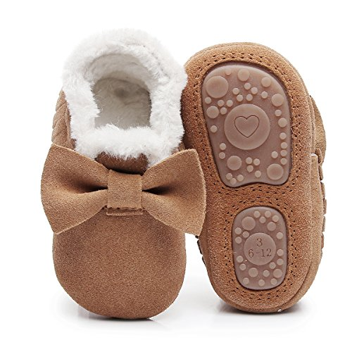 HONGTEYA Baby Moccasins with Fur Fleece Rubber Soles Warm Snow Boots Leather Baby Shoes for Boys Girls (6-12m/4.92