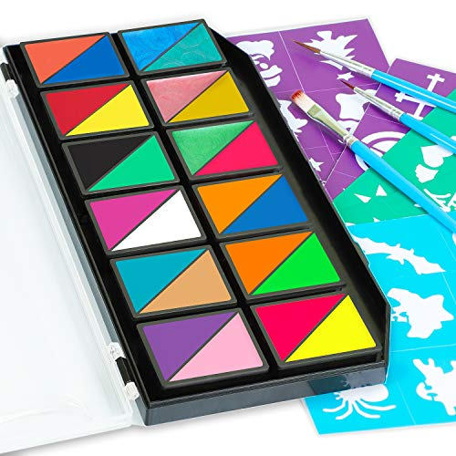 Face Paints & Body Paints Kits Kids Hypoallergenic Make up Palette-24 Colors with 36 Stencils, Three Fine Brush-Safe & Non-Toxic, Ideal for Halloween Party Face Painting - Easy to Wear and Remove]()