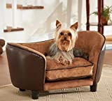 Dog Couch Bed Luxury - Deluxe Comfort Leather Lounge in Brown - Elevated Sofa Best for Small Dogs with Removable, Washable Cover Bundle w Rope Toy
