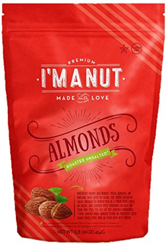 Almonds Roasted Unsalted 1 Lb Resealable Bag - I'm A Nut