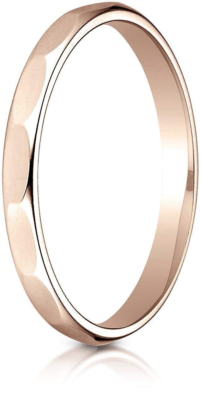 Sizes 4-15 Benchmark 14k Rose Gold 2mm High Polished Faceted Design Band,