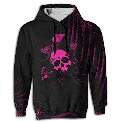 3D Print Men's Hooded Sweatshirts Skull Pink Black Drawstring Pullover Hoodies Pockets (Skull Hoodie Pink)