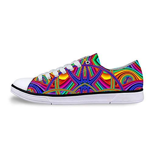 FOR U DESIGNS Stylish Unisex Stripe Wave Print Low Top Flat Shoes Lightweight Fashion Sneaker Lace-up Multi A4 K1FXT