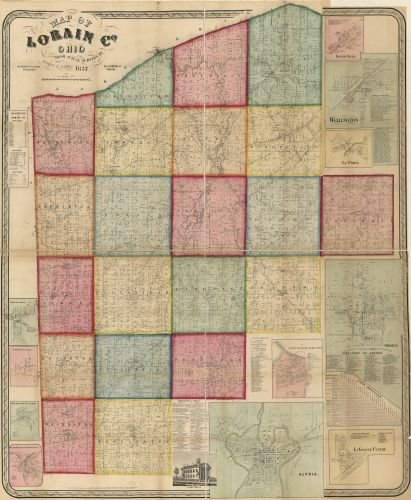 1857 Map of Lorain Co, Ohio - Size: 20x24 - Ready to Frame - Lorain County | Ohio | Lorain County |